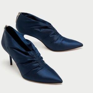 Zara blue satin boots